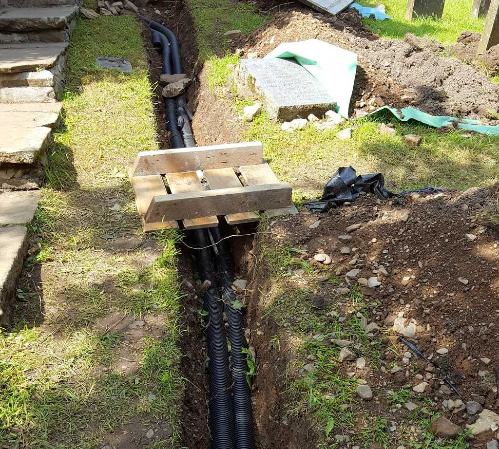 electricity cables laid in trench